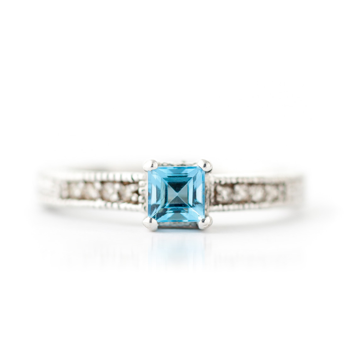 Blue Topaz and Diamond Shoulder Set Ring 0.5ct in 9ct White Gold