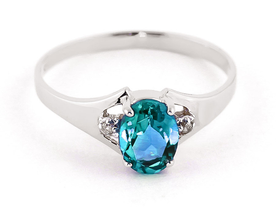 Blue Topaz and Diamond Desire Ring 0.75ct in 9ct White Gold