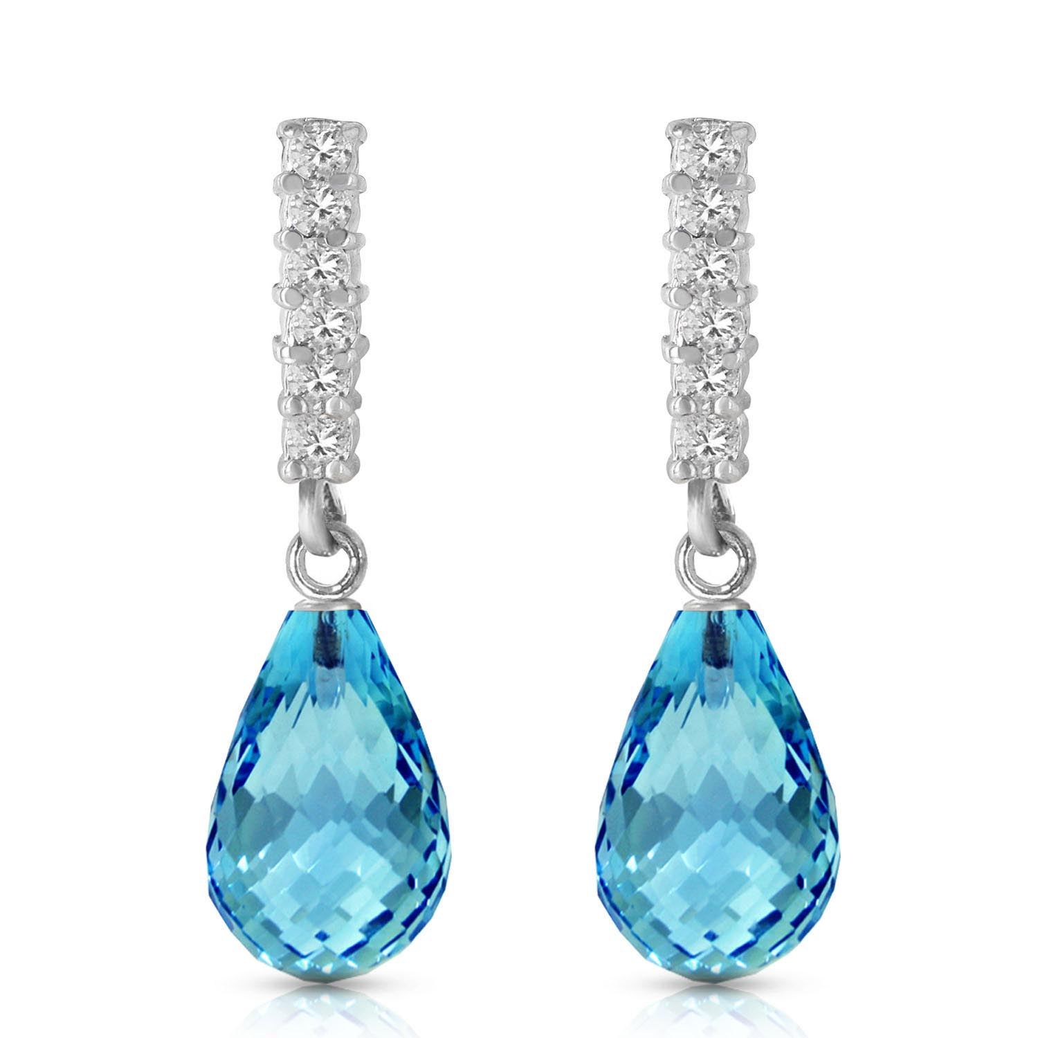 Blue Topaz and Diamond Stem Droplet Earrings 4.5ctw in 9ct White Gold