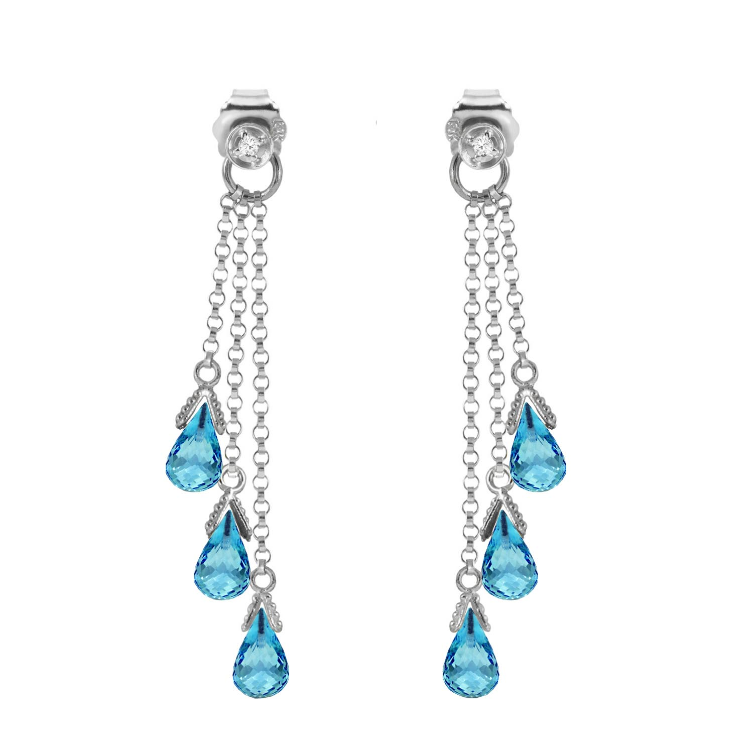 Blue Topaz and Diamond Trilogy Droplet Earrings 10.5ctw in 9ct White Gold