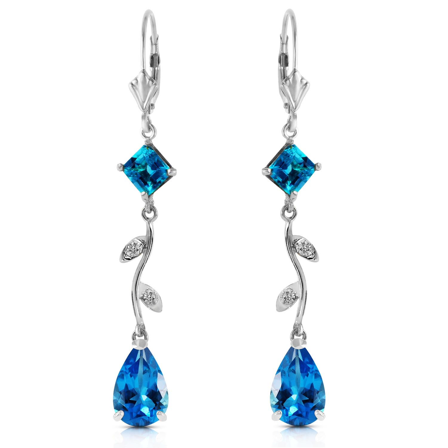 Blue Topaz and Diamond Vine Branch Drop Earrings 3.95ctw in 9ct White Gold