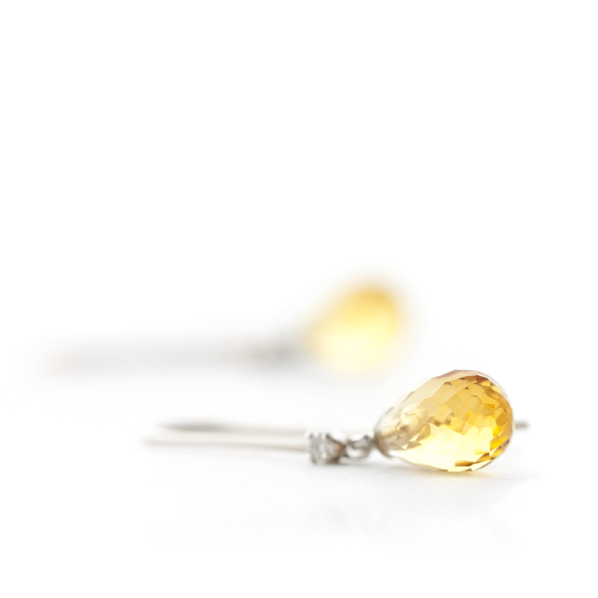 Citrine and Diamond Drop Earrings 1.35ctw in 9ct White Gold