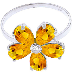 Citrine and Diamond Five Petal Ring 2.2ctw in 9ct White Gold