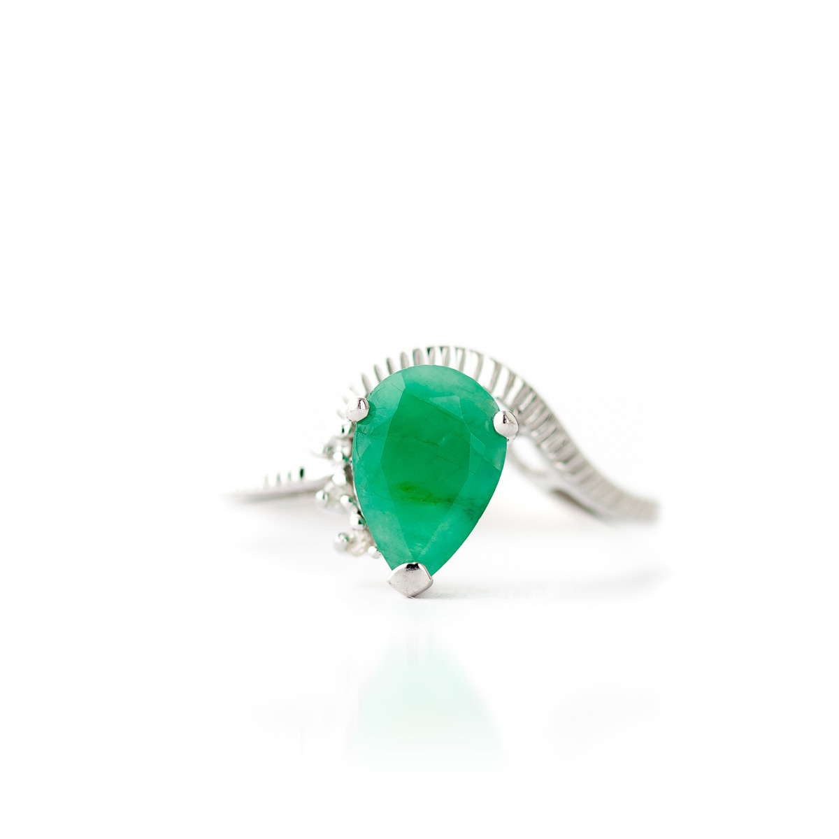 Emerald and Diamond Belle Ring 1.0ct in 9ct White Gold