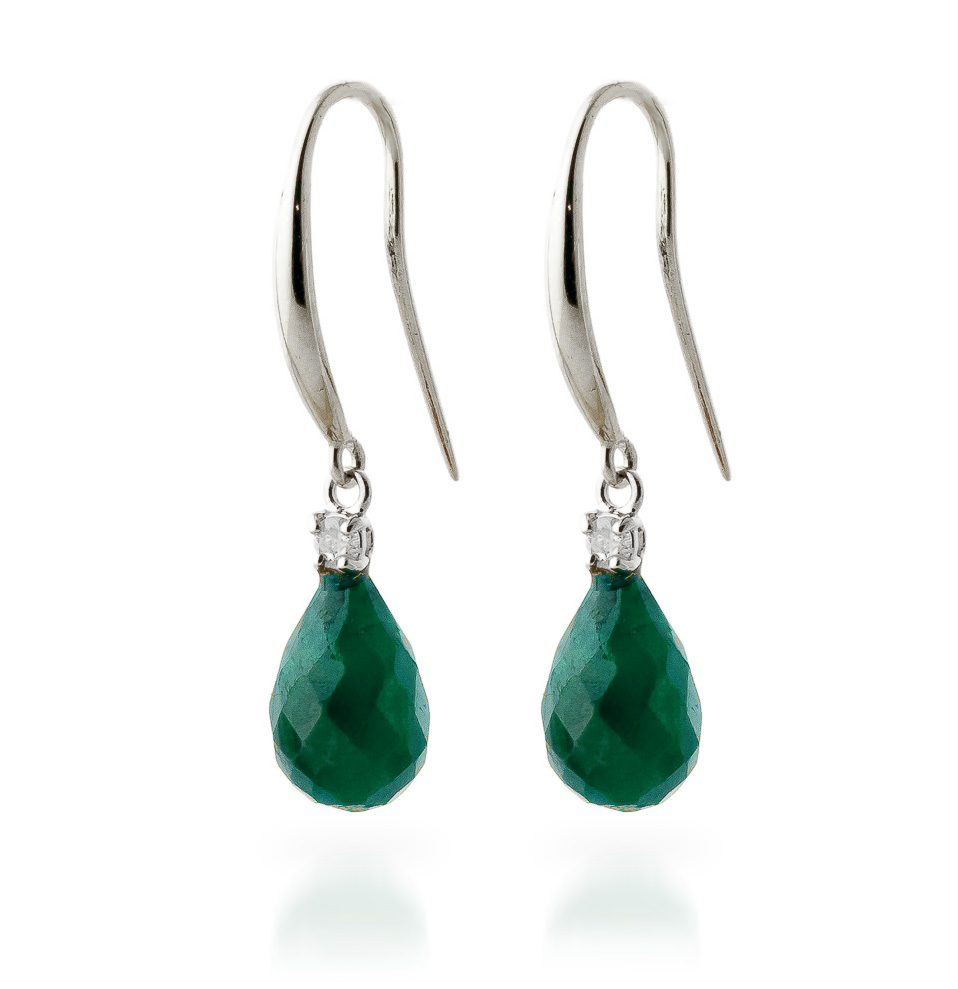 Emerald and Diamond Drop Earrings 6.6ctw in 9ct White Gold