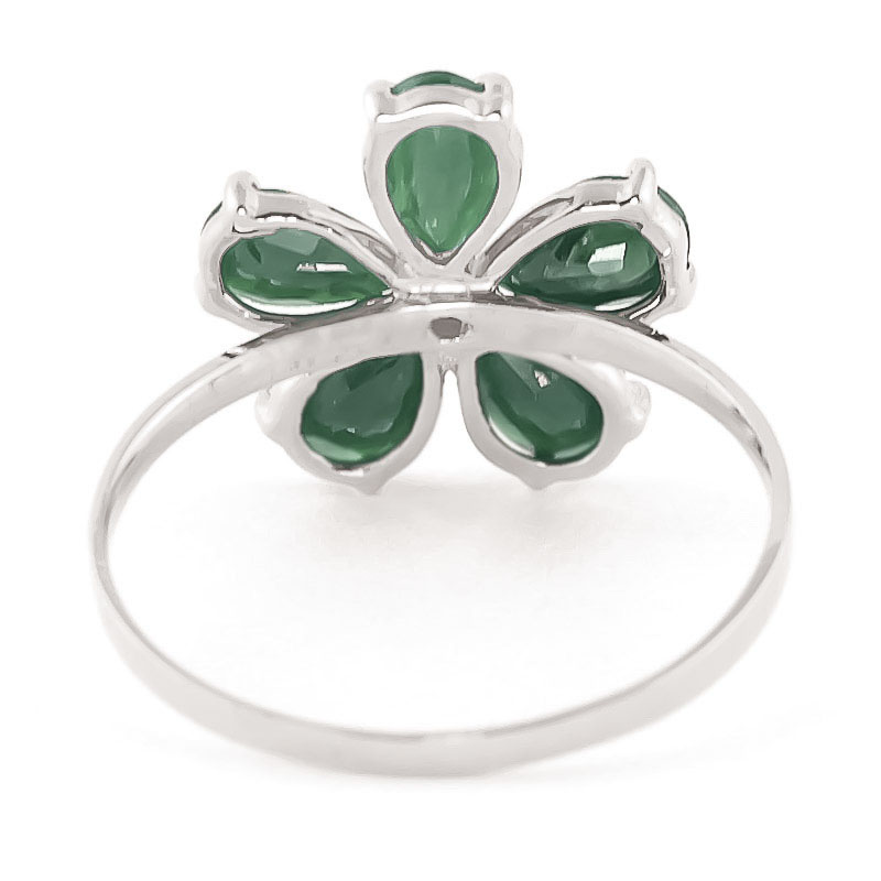 Emerald and Diamond Five Petal Ring 2.2ctw in 9ct White Gold