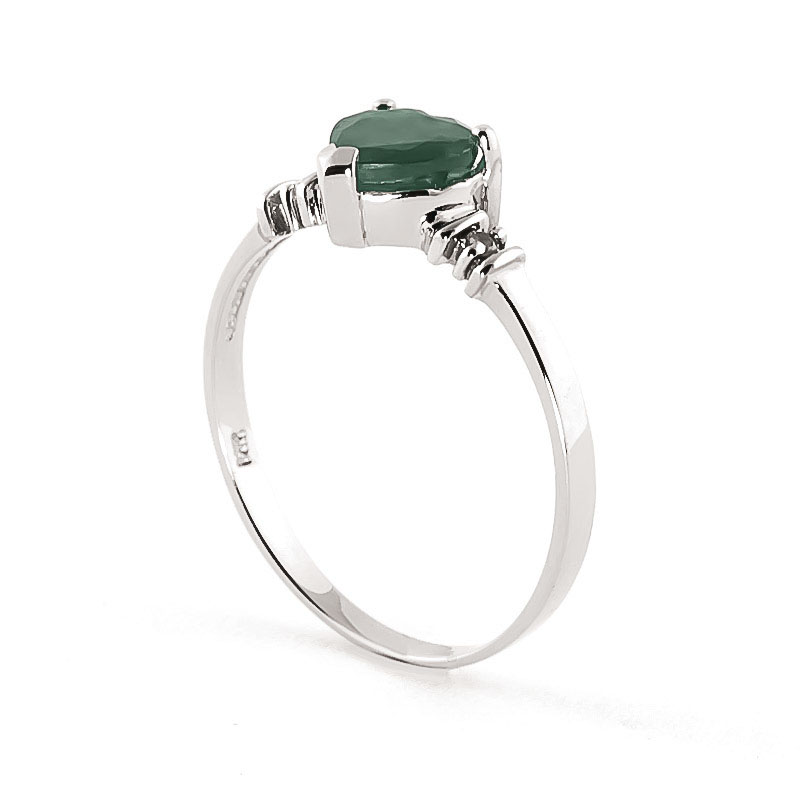 Emerald and Diamond Ring 1.0ct in 9ct White Gold