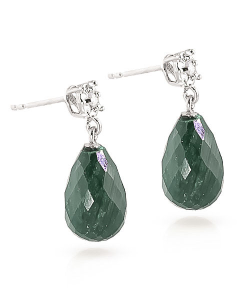 Emerald and Diamond Illusion Stud Earrings 17.6ctw in 9ct White Gold
