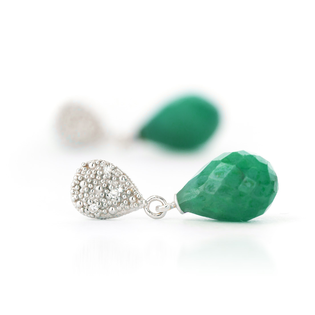 Emerald and Diamond Droplet Earrings 6.6ctw in 9ct White Gold