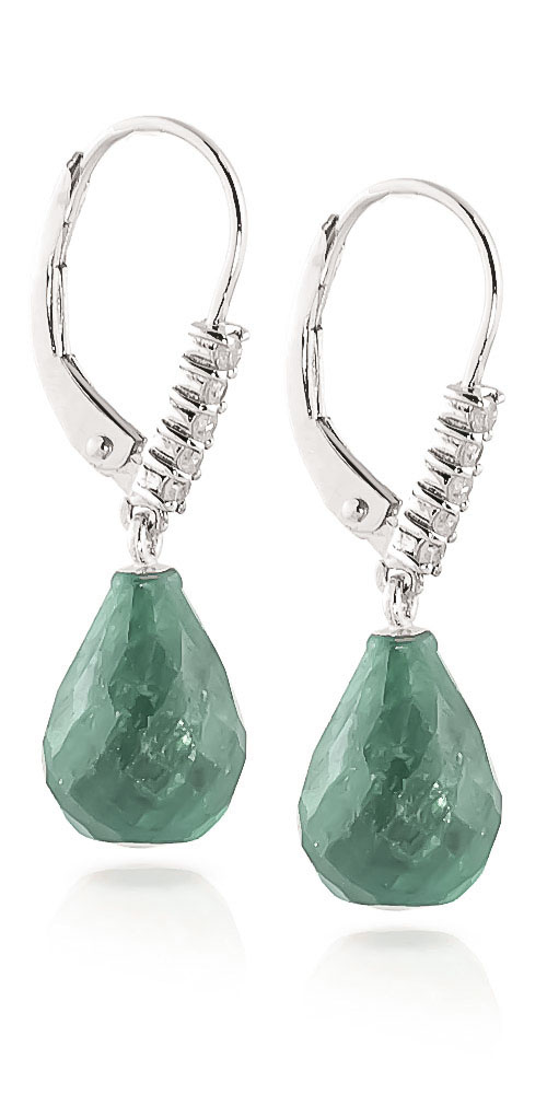 Emerald and Diamond Stem Drop Earrings 8.8ctw in 9ct White Gold