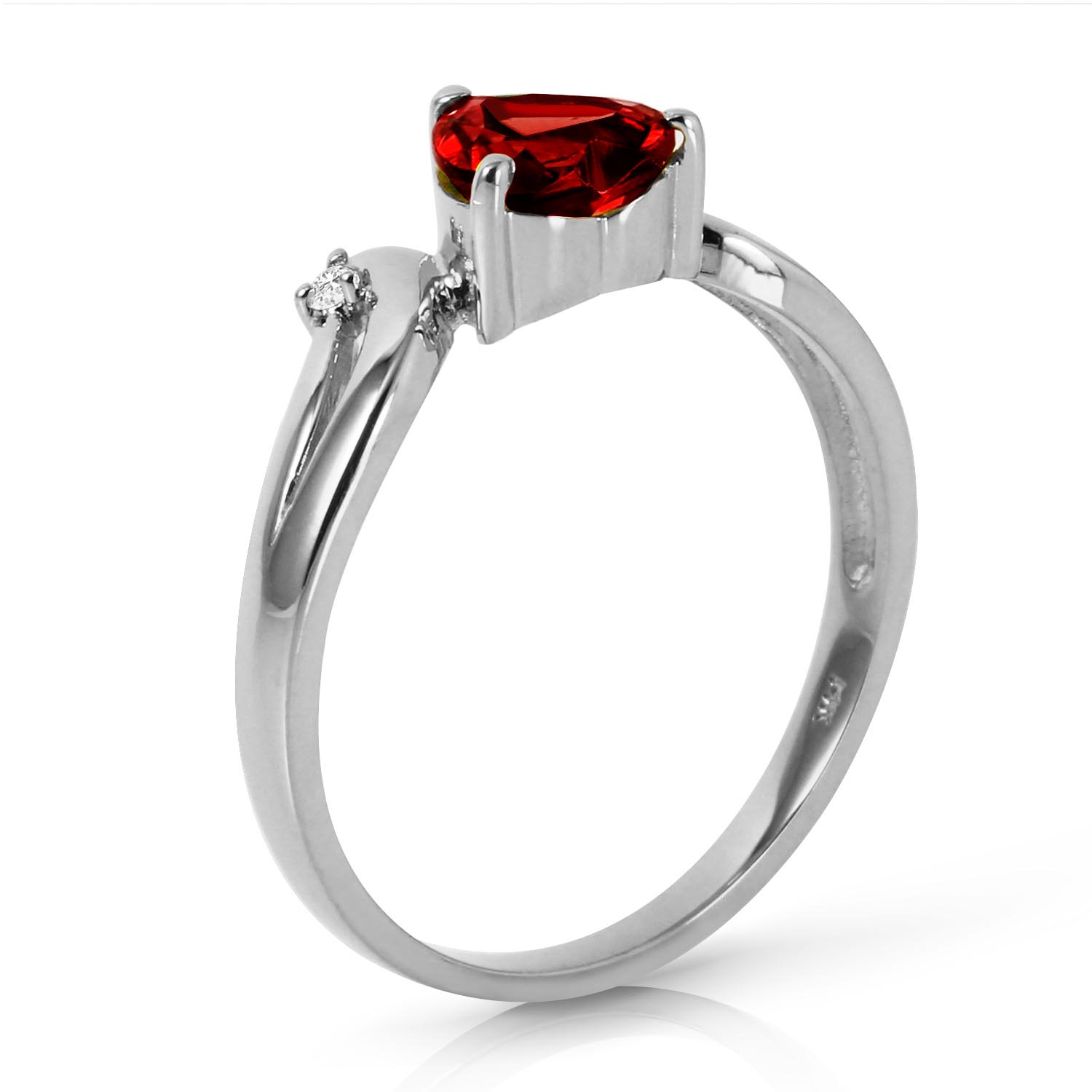 Garnet and Diamond Ring 1.25ct in 9ct White Gold