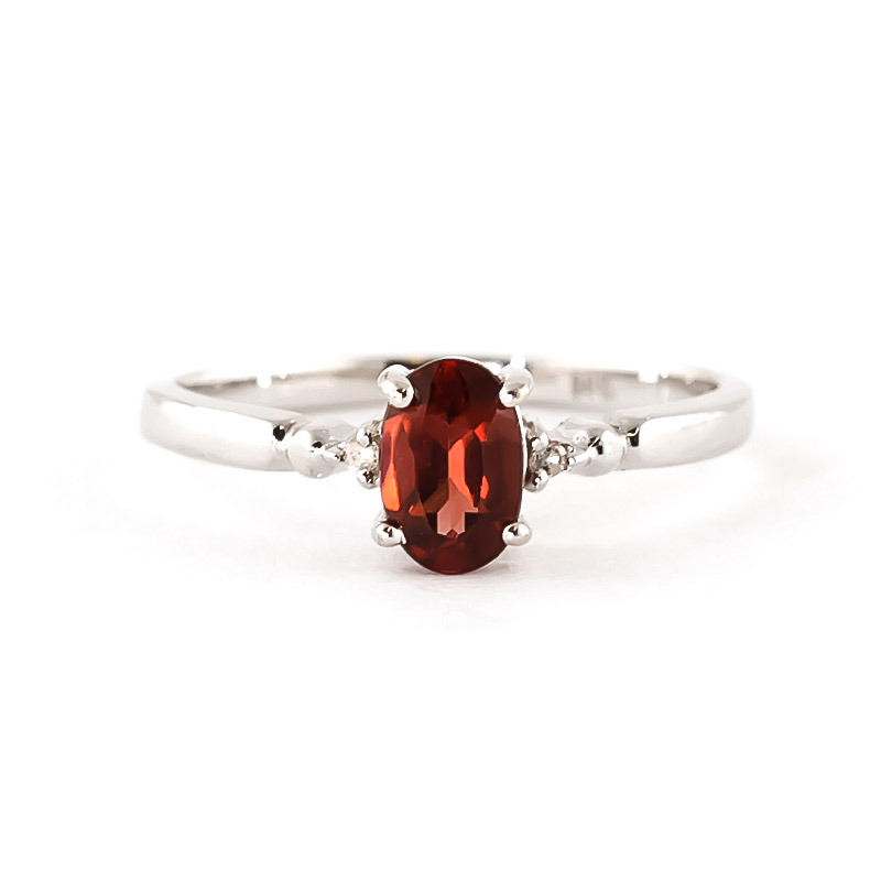 Garnet and Diamond Allure Ring 0.45ct in 9ct White Gold