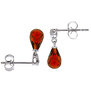 Garnet and Diamond Droplet Earrings 2.7ctw in 9ct White Gold