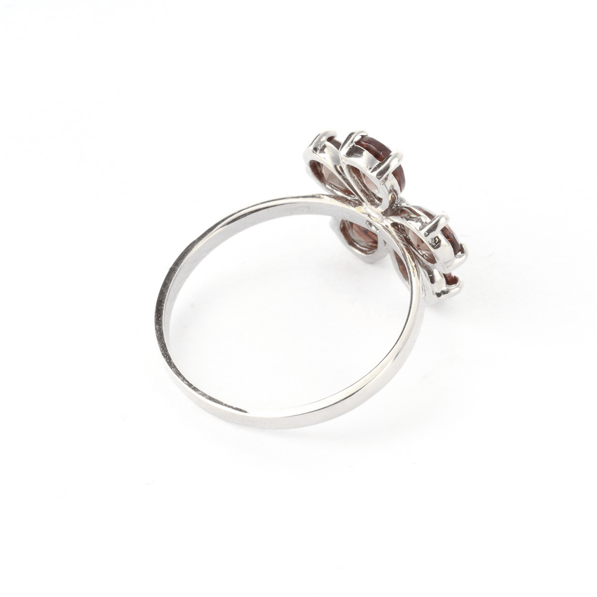Garnet and Diamond Five Petal Ring 2.2ctw in 9ct White Gold