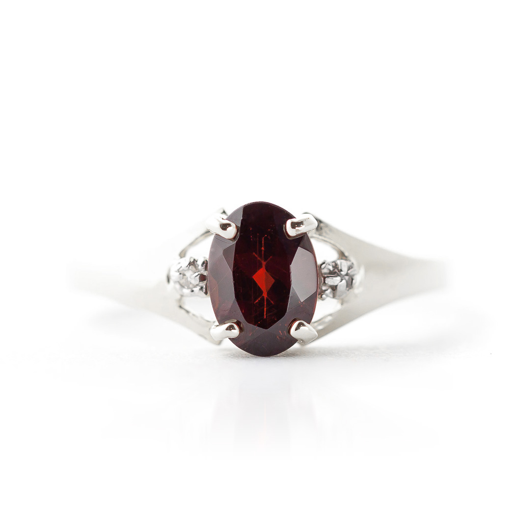 Garnet and Diamond Desire Ring 0.75ct in 9ct White Gold