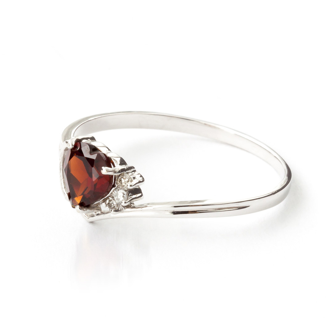 Garnet and Diamond Passion Ring 0.9ct in 9ct White Gold