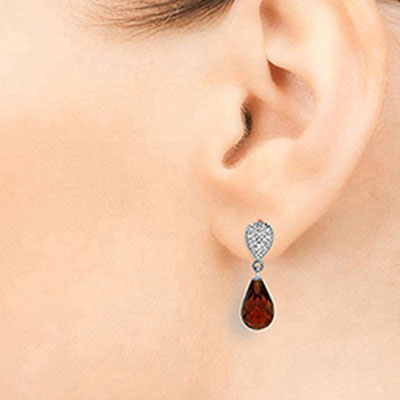 Garnet and Diamond Droplet Earrings 4.5ctw in 9ct White Gold