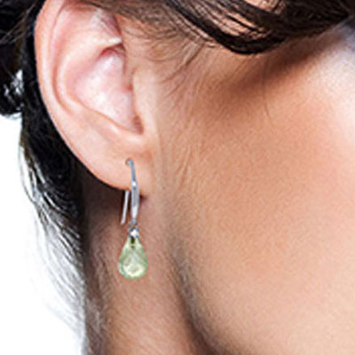 Green Amethyst and Diamond Drop Earrings 4.5ctw in 9ct White Gold