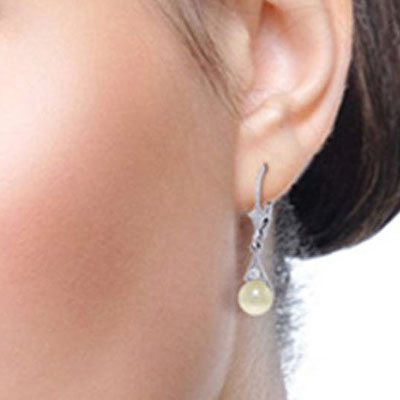 Pearl and Diamond Drop Earrings 4.0ctw in 9ct White Gold