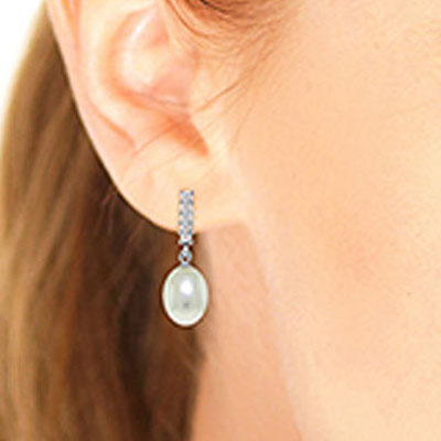Pearl and Diamond Stem Droplet Earrings 8.0ctw in 9ct White Gold