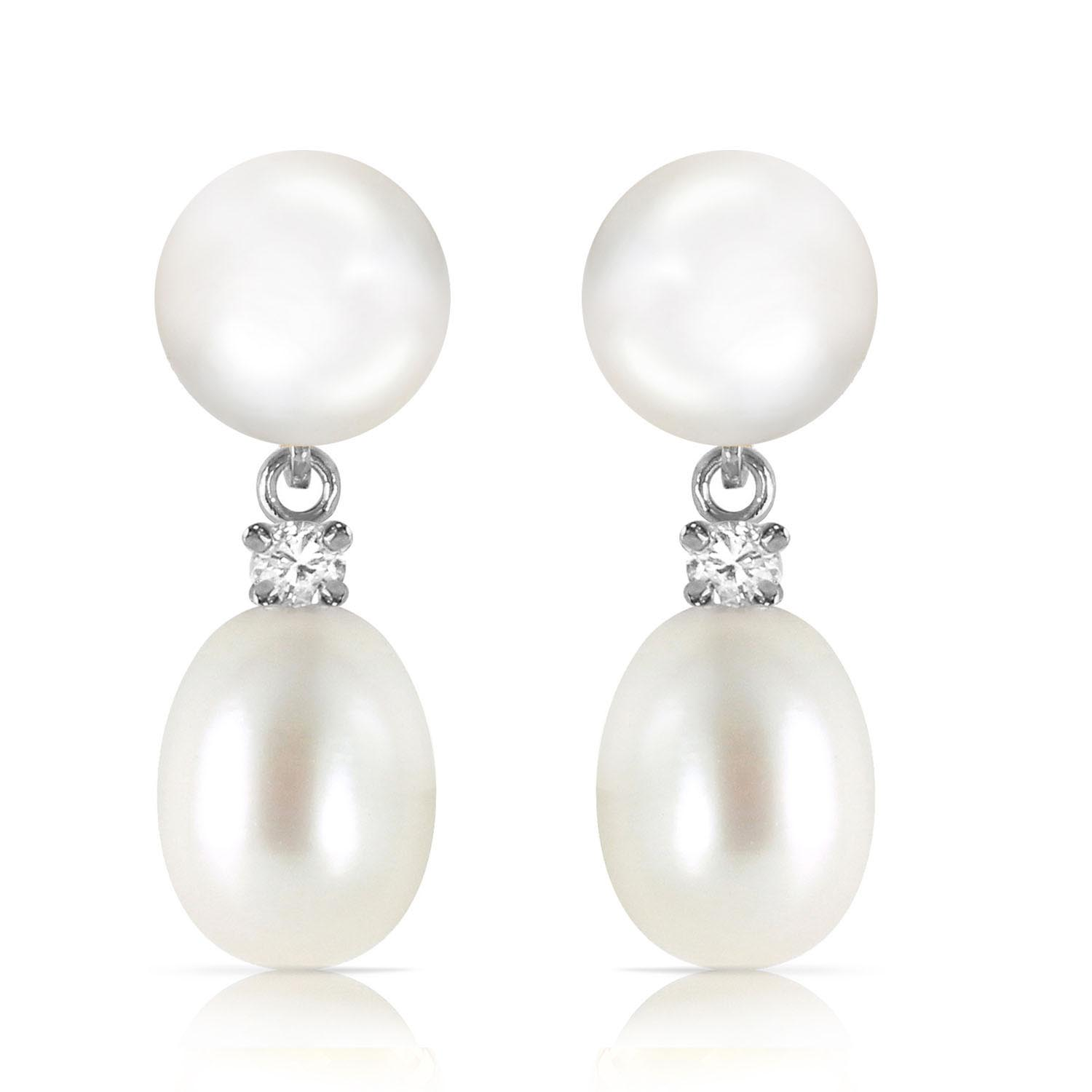 Pearl and Diamond Stud Earrings 10.0ctw in 9ct White Gold