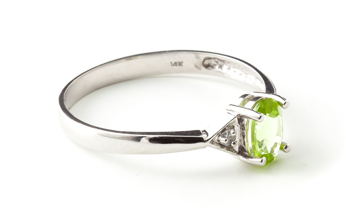 Peridot and Diamond Allure Ring 0.45ct in 9ct White Gold