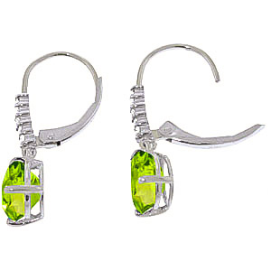 Peridot and Diamond Belle Drop Earrings 3.0ctw in 9ct White Gold