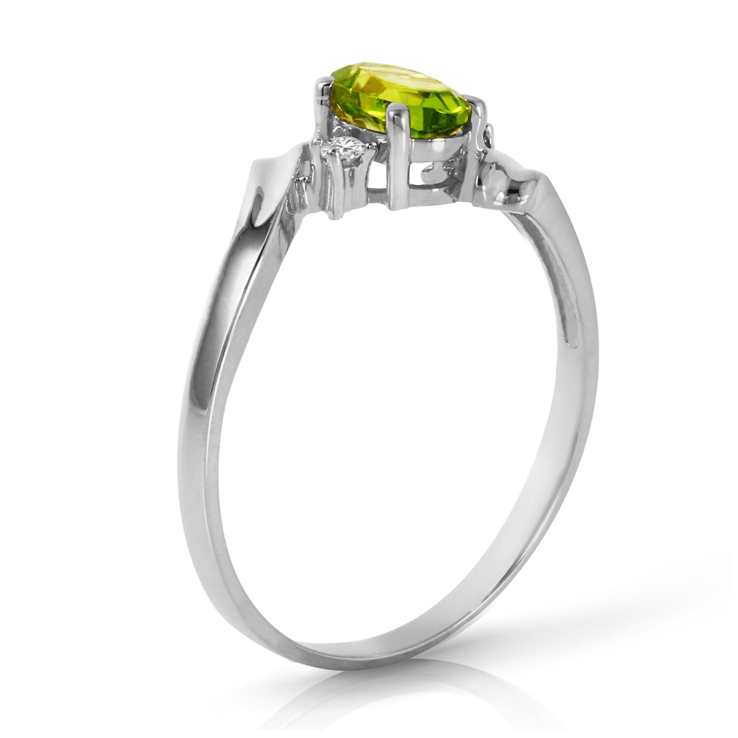 Peridot and Diamond Embrace Ring 0.45ct in 9ct White Gold