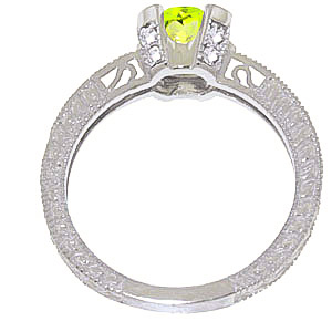 Peridot and Diamond Renaissance Ring 1.5ct in 9ct White Gold