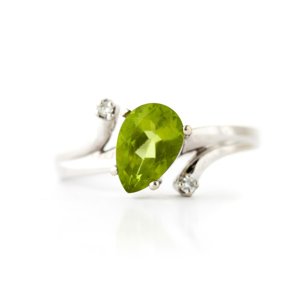 Peridot and Diamond Flank Ring 1.5ct in 9ct White Gold