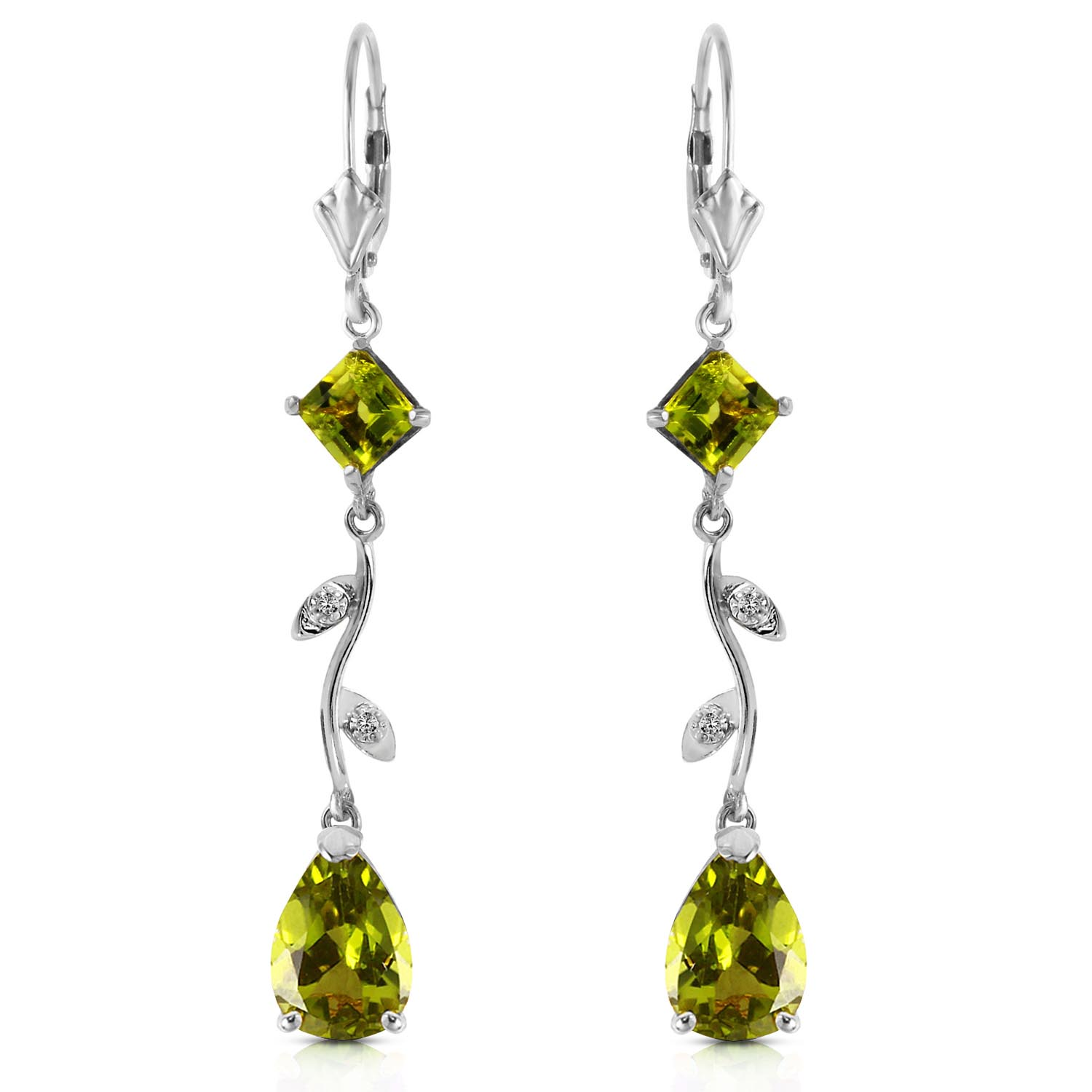 Peridot and Diamond Vine Branch Drop Earrings 3.95ctw in 9ct White Gold