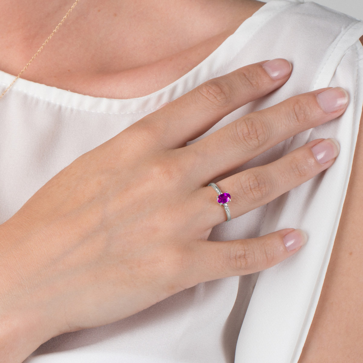 Pink Topaz and Diamond Allure Ring 0.45ct in 9ct White Gold