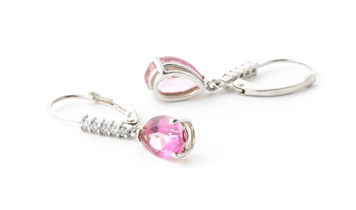 Pink Topaz and Diamond Belle Drop Earrings 3.0ctw in 9ct White Gold