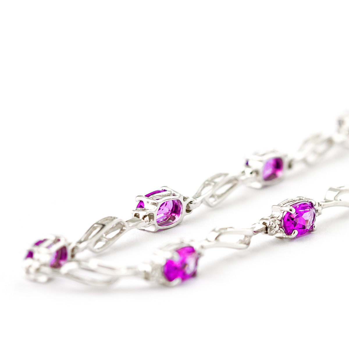 Pink Topaz and Diamond Classic Tennis Bracelet 3.38ctw in 9ct White Gold
