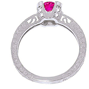 Pink Topaz and Diamond Renaissance Ring 1.5ct in 9ct White Gold