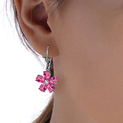 Pink Topaz and Diamond Flower Petal Drop Earrings 4.4ctw in 9ct White Gold