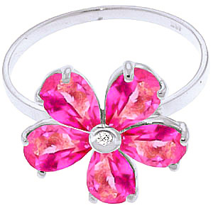 Pink Topaz and Diamond Five Petal Ring 2.2ctw in 9ct White Gold