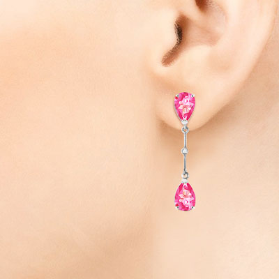 Pink Topaz and Diamond Drop Earrings 7.0ctw in 9ct White Gold