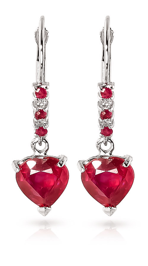 Ruby and Diamond Drop Earrings 2.8ctw in 9ct White Gold