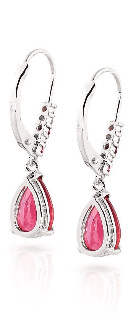 Ruby and Diamond Belle Drop Earrings 3.12ctw in 9ct White Gold
