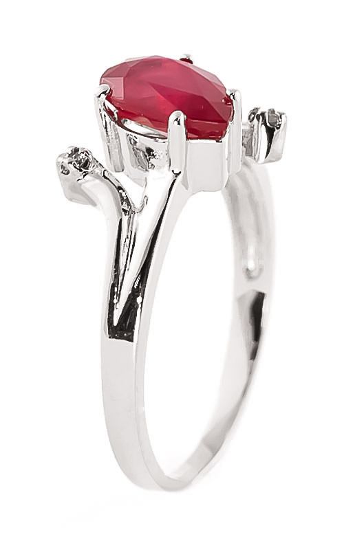 Ruby and Diamond Flank Ring 1.5ct in 9ct White Gold