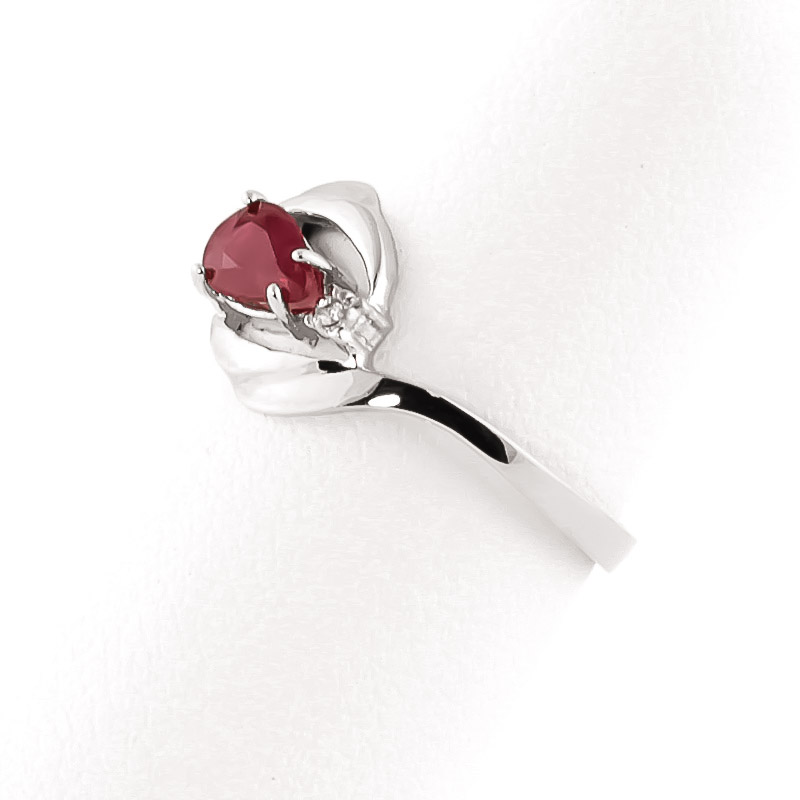 Ruby and Diamond Flare Ring 0.5ct in 9ct White Gold