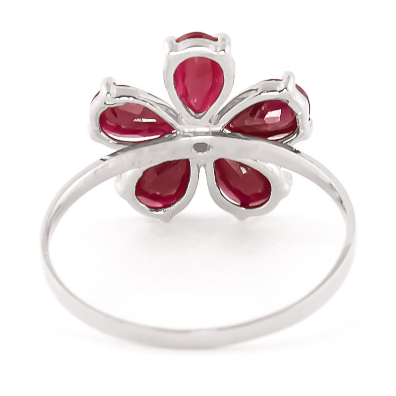 Ruby and Diamond Five Petal Ring 2.2ctw in 9ct White Gold