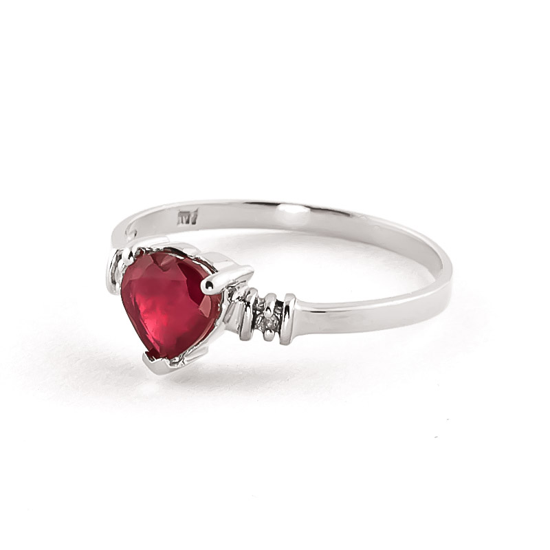 Ruby and Diamond Ring 1.0ct in 9ct White Gold