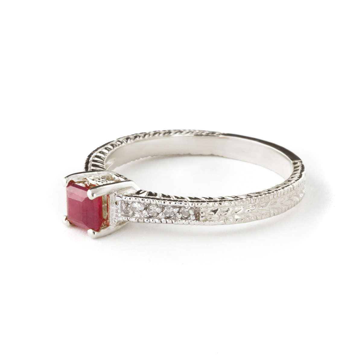 Ruby and Diamond Shoulder Set Ring 0.5ct in 9ct White Gold