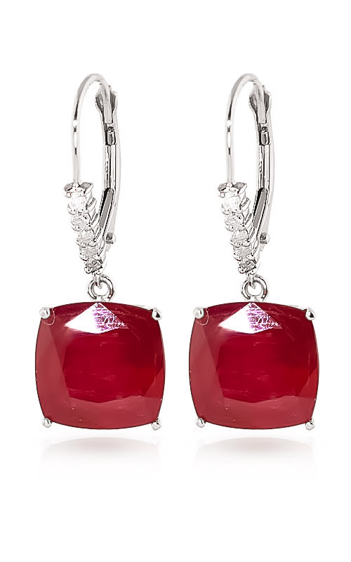 Ruby and Diamond Rococo Drop Earrings 9.4ctw in 9ct White Gold