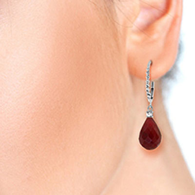 Ruby and Diamond Stem Drop Earrings 17.6ctw in 9ct White Gold