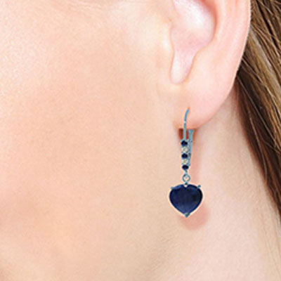 Sapphire and Diamond Drop Earrings 3.1ctw in 9ct White Gold