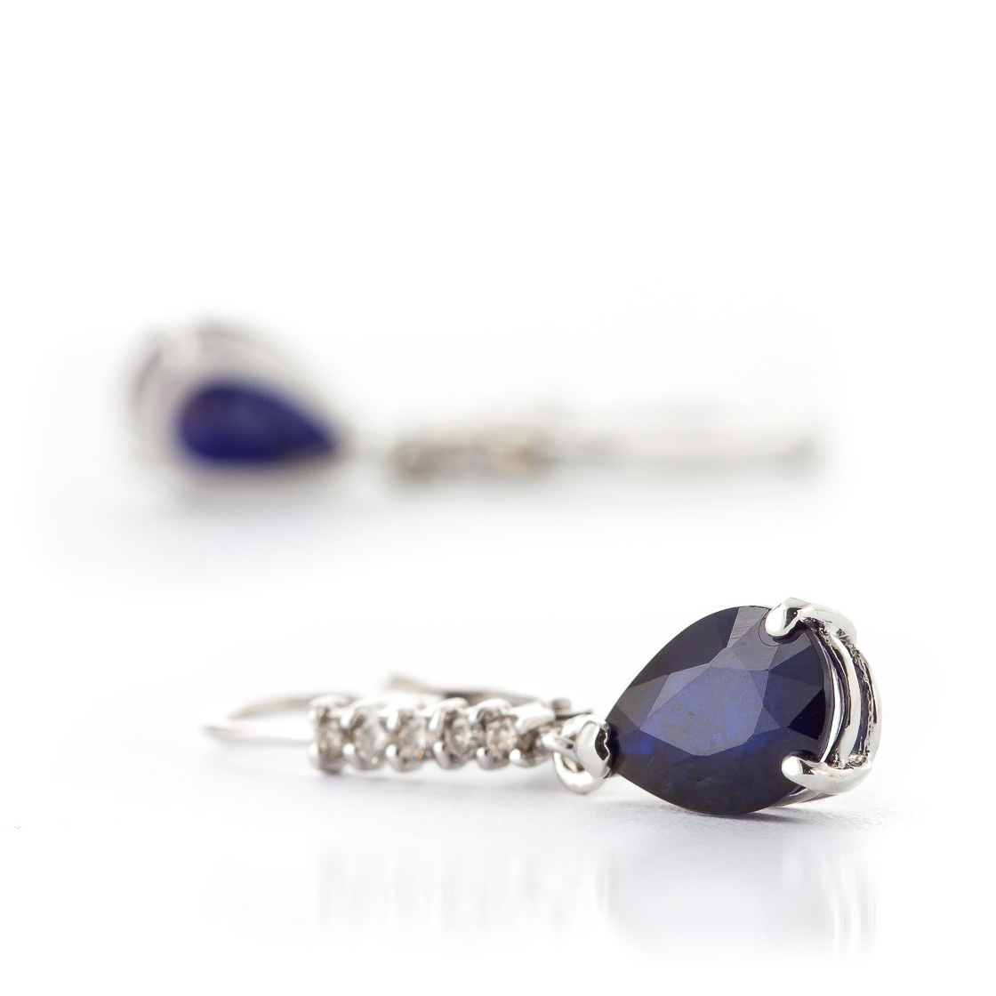 Sapphire and Diamond Belle Drop Earrings 3.0ctw in 9ct White Gold