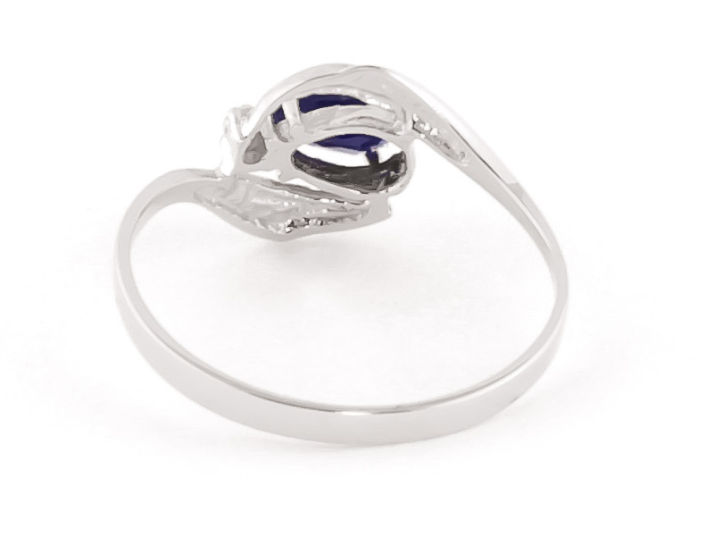 Sapphire and Diamond Flare Ring 0.5ct in 9ct White Gold
